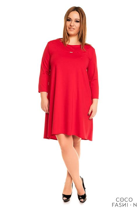 swing plus size dresses red 3 4 sleeves swing dress plus size