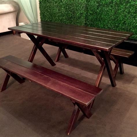 signature rentals espresso picnic table w bench