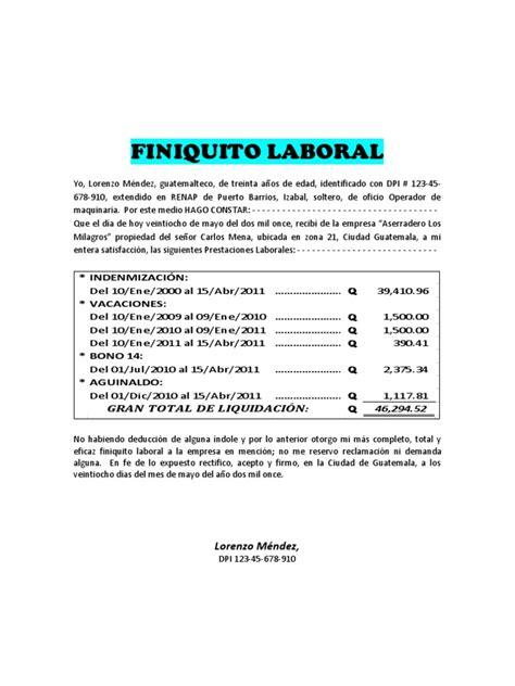 clculo de despido laboral finiquito laboral modelo