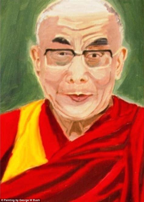 George W Bush Birthday by Dalai Lama Reviews His Portrait By George W Bush During