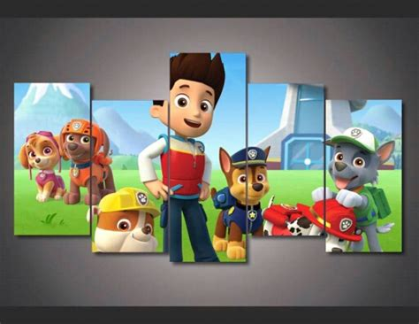 Paw Patrol Room Decor Framed Printed Paw Patrol Picture Painting Wall Room Decor Print Poster Picture Canvas Free