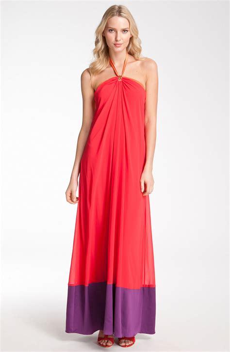 Cleeo Dress max cleo colorblock chiffon maxi dress in