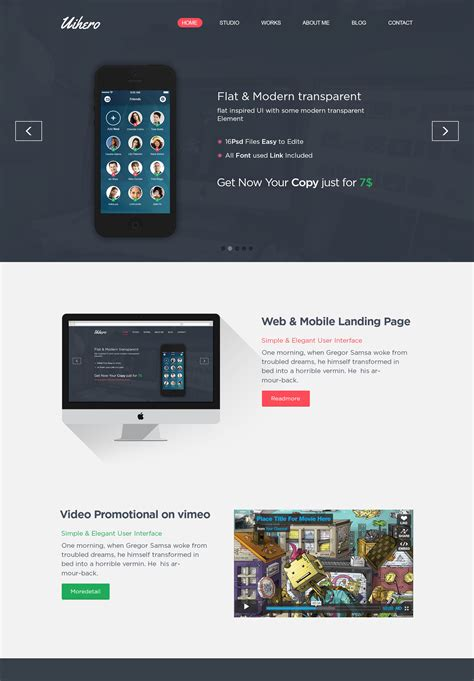 uihero free psd one page template free download