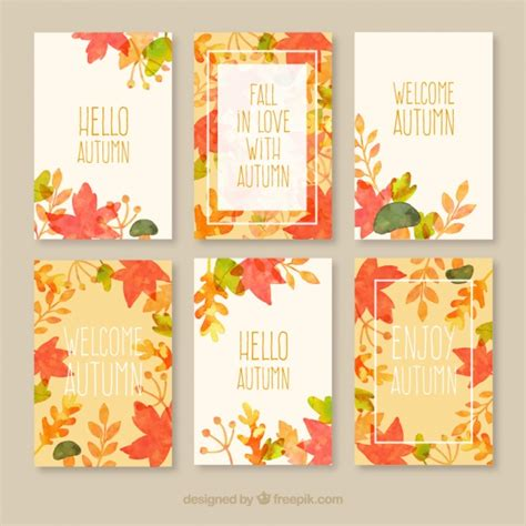 Fall Card Template by Autumn Cards Collection Vector Free