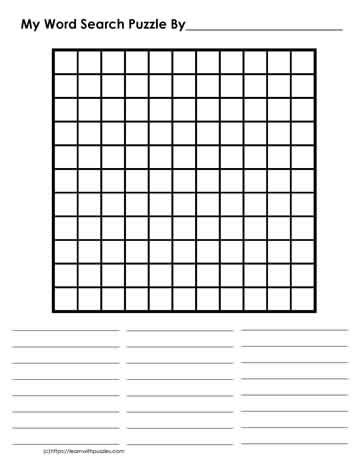 11 x 11 Blank Word Search Learn With Puzzles