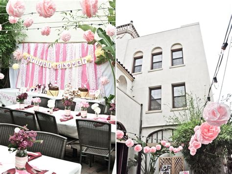 bridal shower theme decorations courtyard venue in california adorned with light pink and