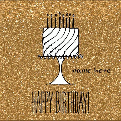 card gif write name on animated golden birthday cake card namegif