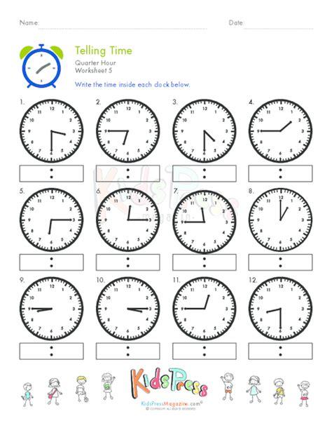 clock worksheets quarter to telling time quarter hour worksheet 5 kidspressmagazine com