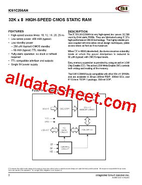 integrated circuit solution inc ic61c256ah 15n datasheet pdf integrated circuit solution inc