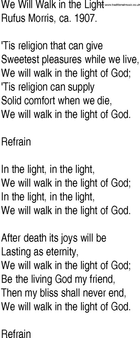 i am the light of the hymn hymn and gospel song lyrics for we will walk in the light
