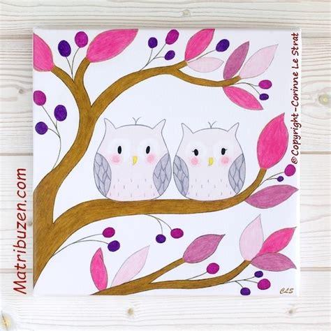 tableaux chambre enfant tableau enfant b 233 b 233 th 232 me for 234 t hiboux chouettes sur branche