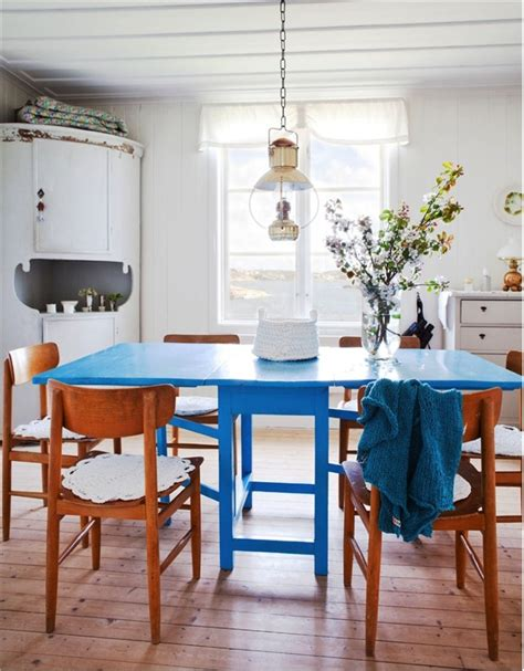 blue kitchen table live here eat that a swedish cottage this