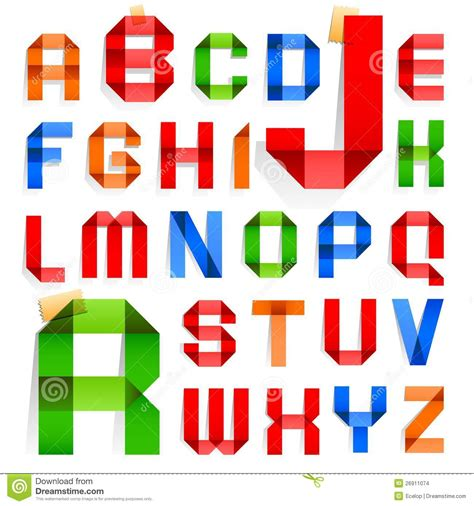 Folded Paper Font - torn paper and cardboard abc vector