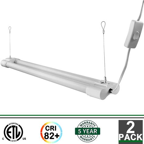 2ft led light fixture 2x 2ft integrated led fixture 5000k 1800 lumens garage