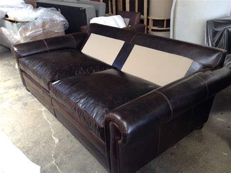 deep cushion couch 93 5 langston leather sleeper sofa twin cushion 48