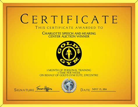 Golds Gym Gift Card - gold s gym gift certificate on behance