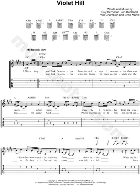 coldplay violet hill chords coldplay quot violet hill quot guitar tab in c minor download
