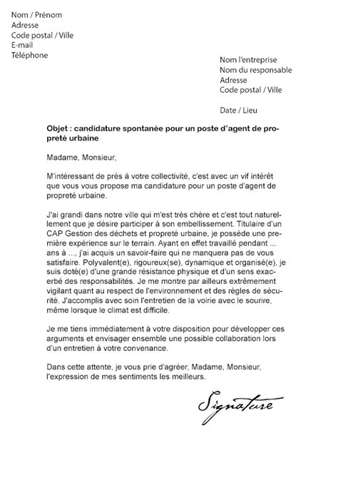 Lettre De Motivation De Propret Urbaine lettre de motivation de propret 233 urbaine mod 232 le