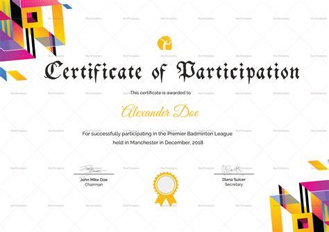 badminton certificate template badminton participation certificate design template in