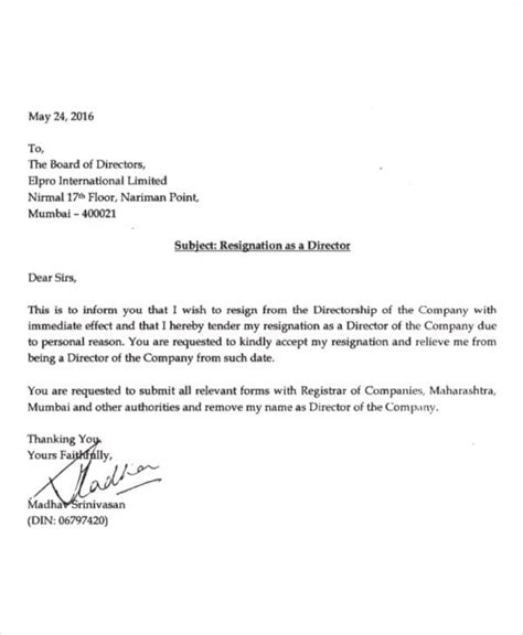 simple resignation letters word docs