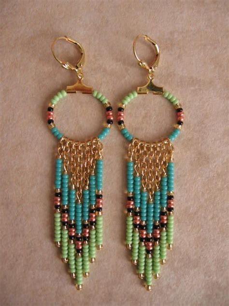 how to make seed bead earrings seed bead hoop earrings aqua lime green