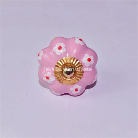 pink floral painted ceramic knobs set of 2