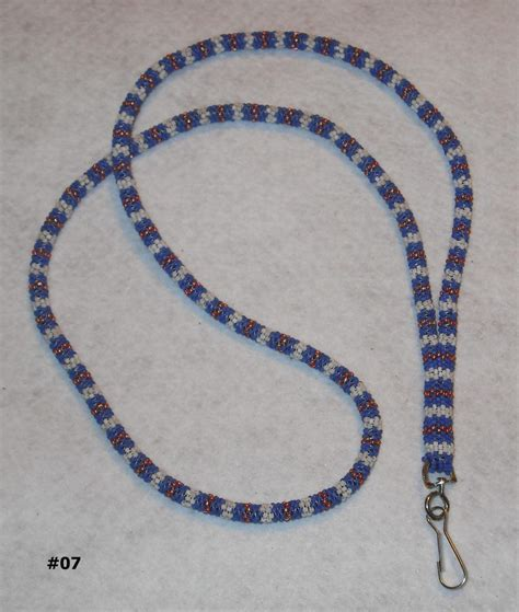 Beaded Lanyard 40 Necklace Seed Bead With Clip For Badge