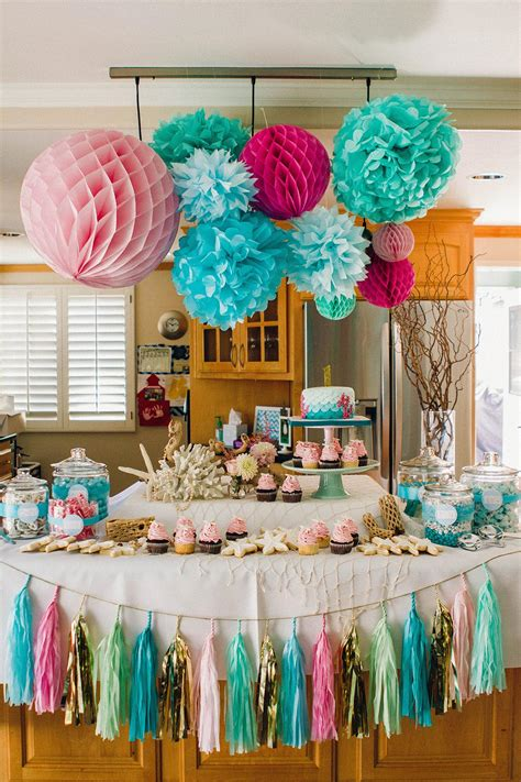 mermaid theme decorations emilee s mermaid themed birthday the