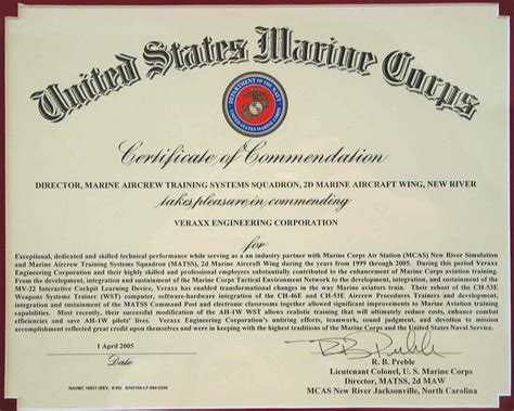 certificate of commendation template usmc certificate of recommendation sle gallery