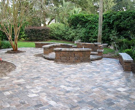 Hardscaping Ideas Brick Paver Patio Custom Firepit Brick Paver Patio