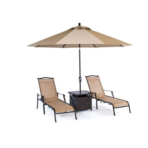 outdoor lounge chairs with umbrella monaco 4 chaise lounge set with side table and