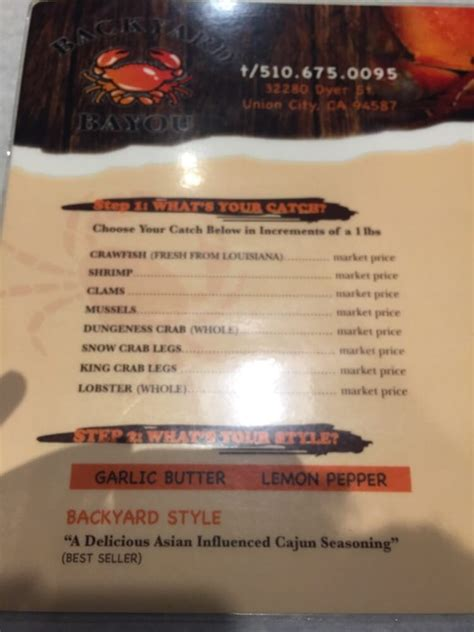 backyard bayou menu menu yelp