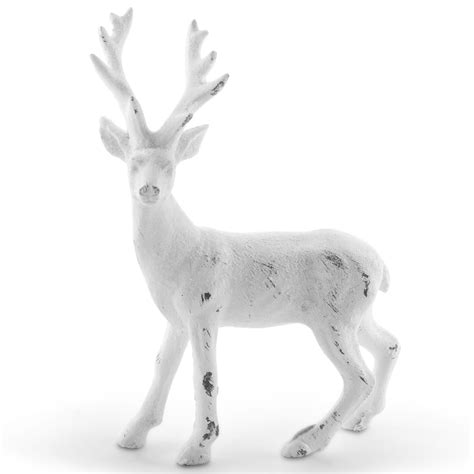 15cm standing white glitter christmas stag ornament 163 8
