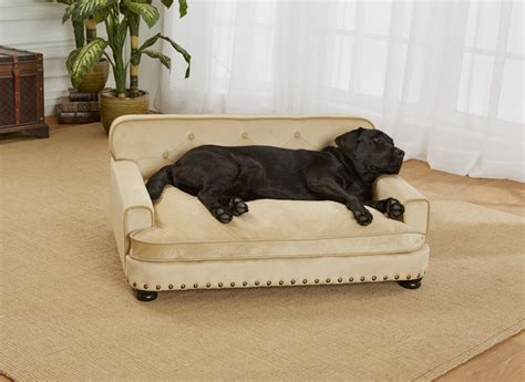 dog bed sofa enchanted home pet caramel ultra plush library pet sofa