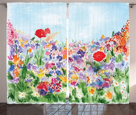 floral curtains 2 panels set blooming tulip poppy home curtains floral colorful flower garden themed artsy 2