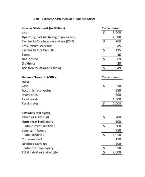 9 Sle Balance Sheets Sle Templates Income Statement And Balance Sheet Template