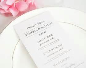 Programs For A Wedding Simple Elegance Wedding Menus Wedding Menus By Shine