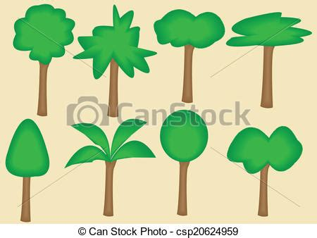 8 Trees Style Tree Collection Of Design Element Tree Collection Of Design Elements Stock Vector Illustration Of Icon Botany 32428346