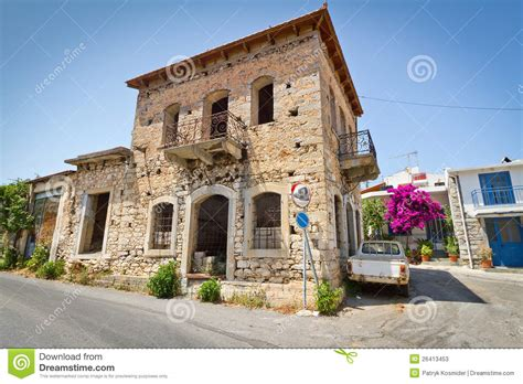 plat house classic greek houses in small town of lasithi plat stock