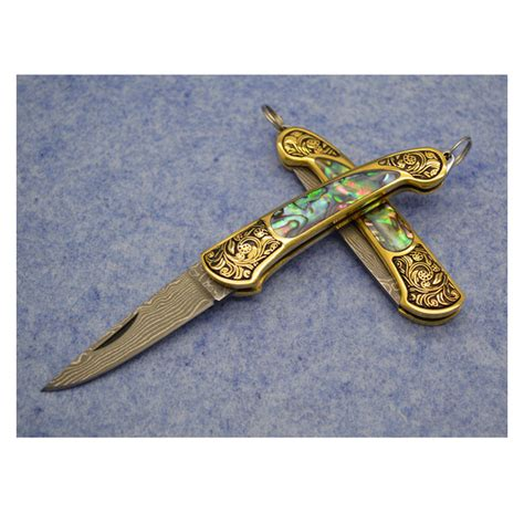 abalone handle pocket knives handmade brass and abalone shell handle damascus steel