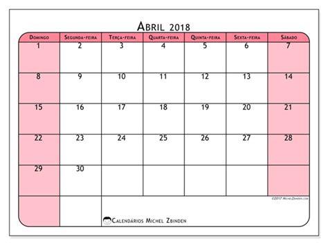 Calendario Abril 2018 Calend 225 Para Imprimir Abril 2018 Severinus Brasil