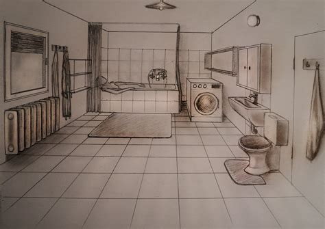 bathroom drawings how to draw one point perspective bathroom