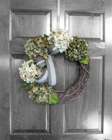 outdoor door wreaths hydrangea wreath etsy by refinedwreath