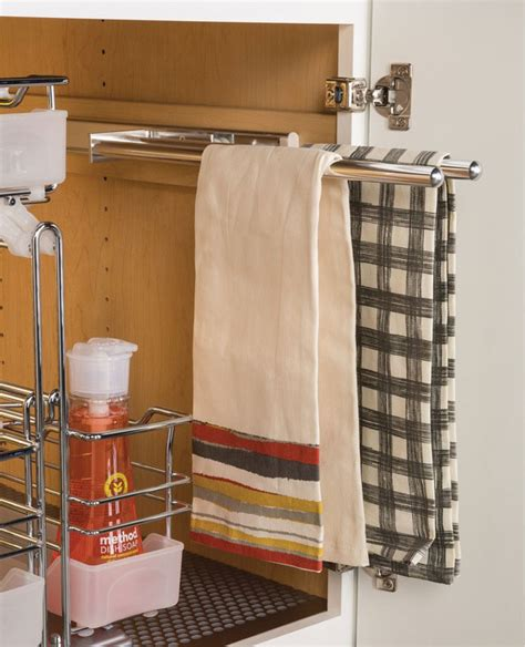 kitchen cabinet towel rack pull out 3 arm towel rack chrome in kitchen towel holders