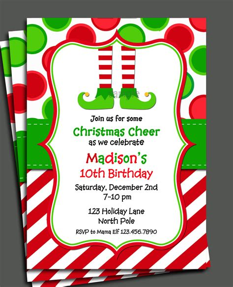 christmas elf invitation printable christmas birthday