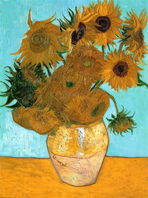 still vase with twelve sunflowers vincent