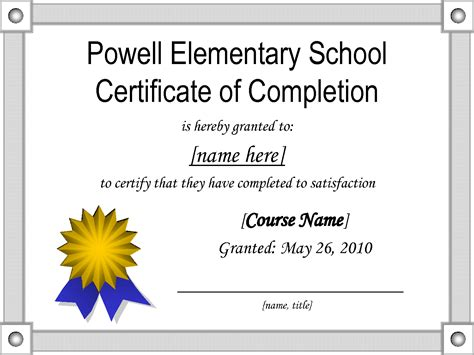 school certificate templates free middle school certificates templates powell elementary