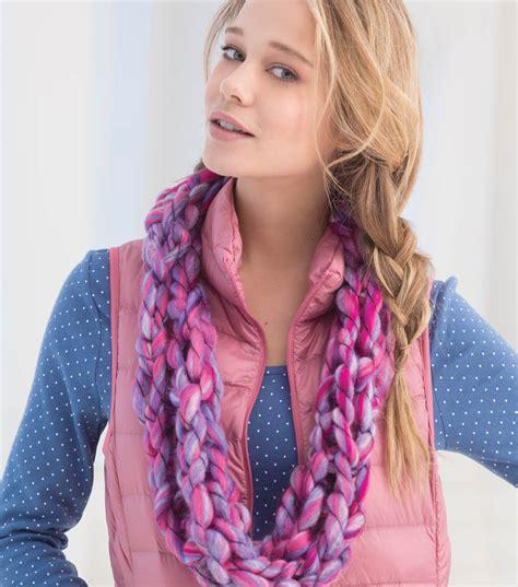 arm knit cowl pink lilac arm knit cowl project materials joann jo