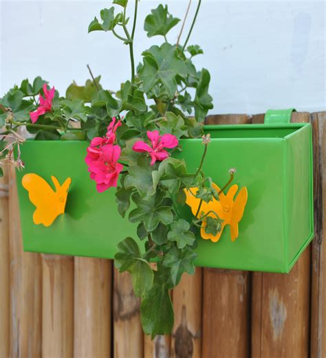 Butterfly Planter by Railing Square Box Planter With Butterfly Greengardenia