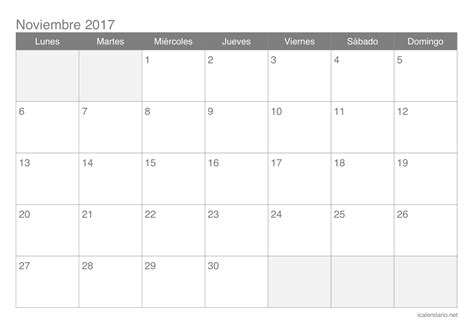 Calendario 2017 Noviembre Calendario De Noviembre De 2017 Printable 2018 Calendar
